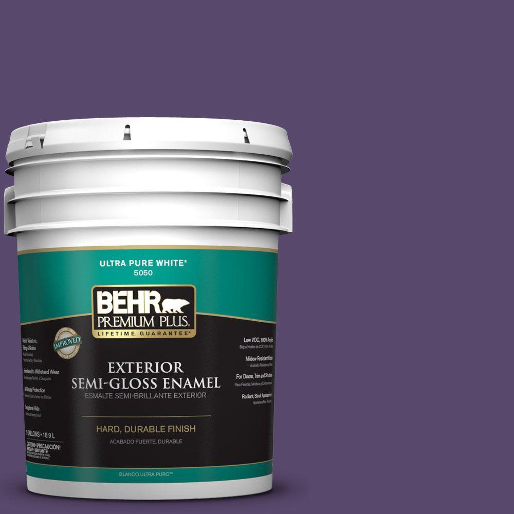 BEHR Premium Plus 5-gal. #P570-7 Proper Purple Semi-Gloss Enamel Exterior Paint