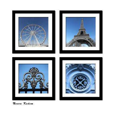 "Four 10 in. x 10 in. ""Paris in Blue"" by Neeva Kedem Framed Printed Wall Art"