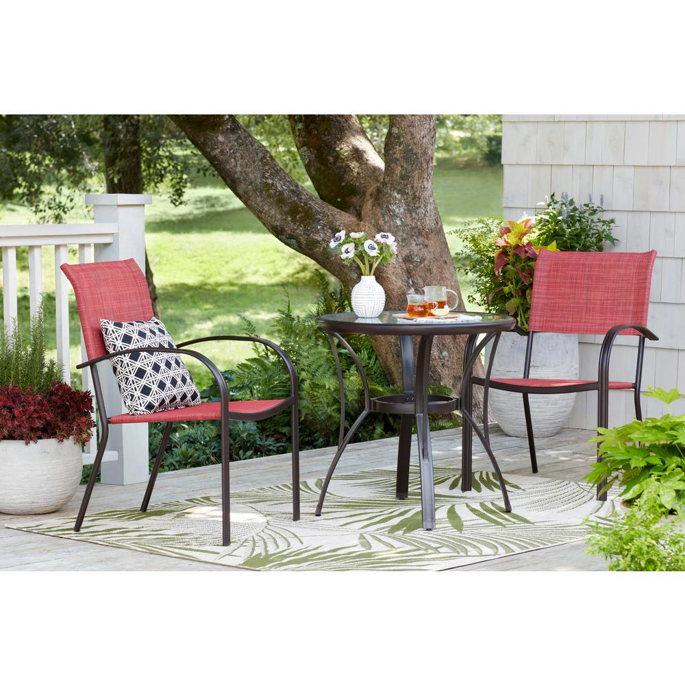 Hampton Bay Mix And Match Stackable Sling Outdoor Dining Chair In Conley Chili