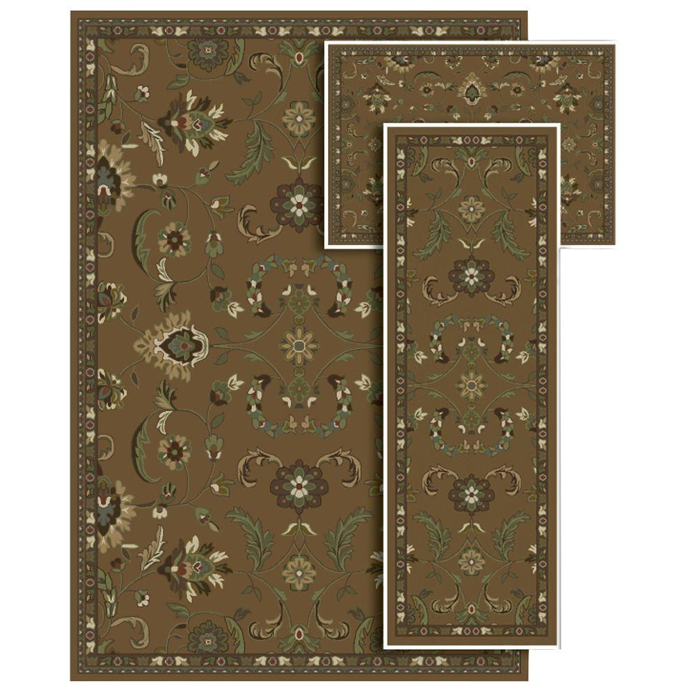 Oriental Weavers Tao Soft Dessert Brown 4 ft. 11 in. x 7 ft. 3 Piece Area Rug Set-DISCONTINUED