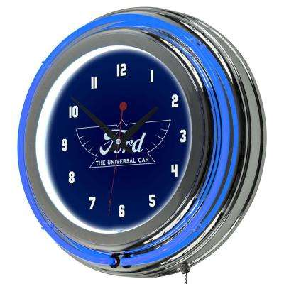 3 in. x 14 in. The Universal Car Chrome Double Rung Neon Wall Clock