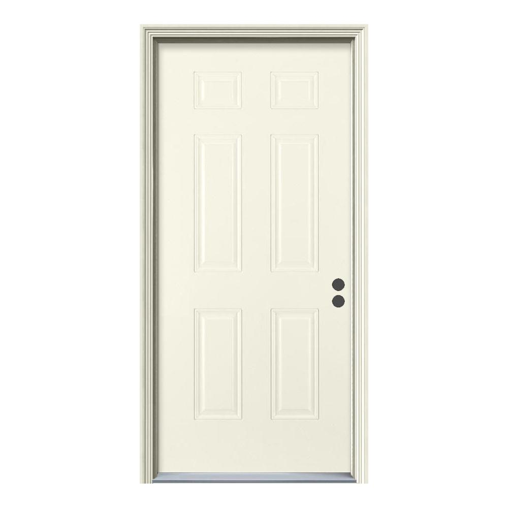 Jeld wen 32 in x 80 in 6 panel primed fiberglass prehung - Installing prehung exterior door on concrete ...