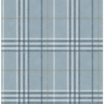 8 in. x 10 in. Rockefeller Light Blue Plaid Wallpaper Sample