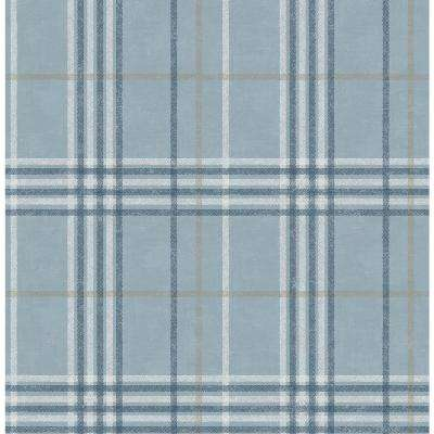 Rockefeller Light Blue Plaid Paper Strippable Roll (Covers 56.4 sq. ft.)