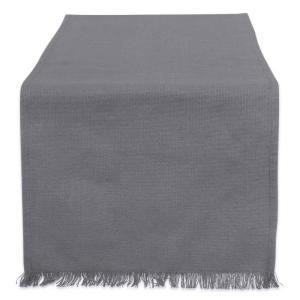 Gray Solid Heavyweight Fringed Cotton Table Runner