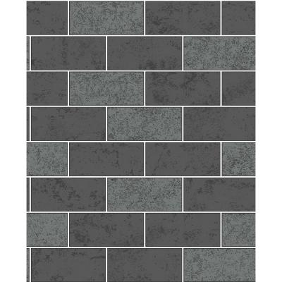 56.4 sq. ft. Ceramica Black Subway Tile Wallpaper