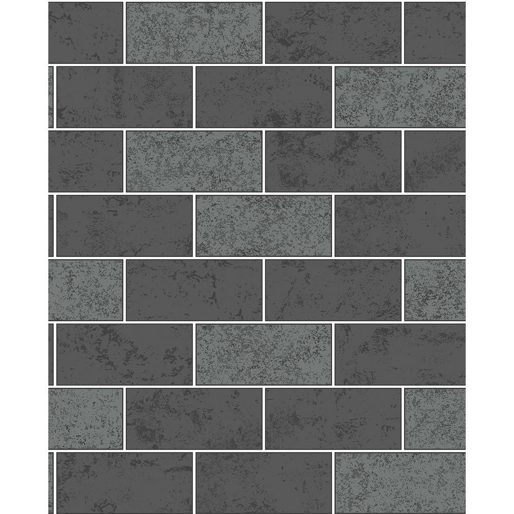 564 Sq Ft Ceramica Black Subway Tile Wallpaper 2900 41462 The