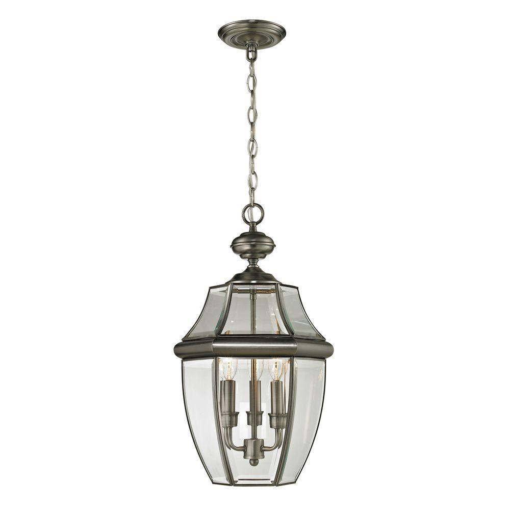 Ashford 3-Light Antique Nickel Outdoor Pendant