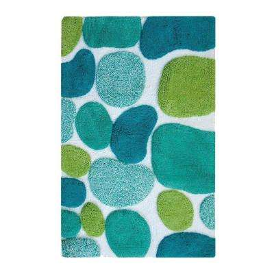 Pebbles Brights Pool Blue 2 ft. x 3 ft. Indoor Bath Rug