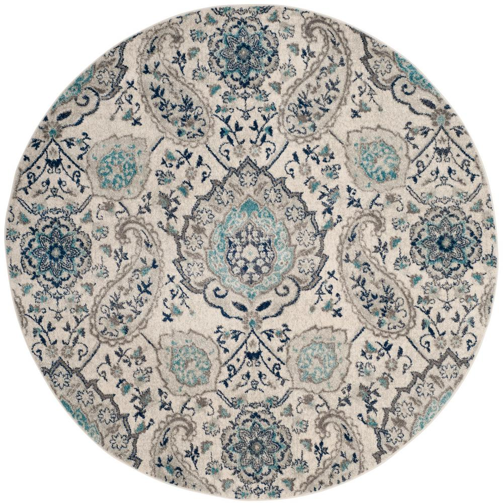 Safavieh Madison Cream/Light Gray 6 ft. 7 in. x 6 ft. 7 in. Round Area Rug
