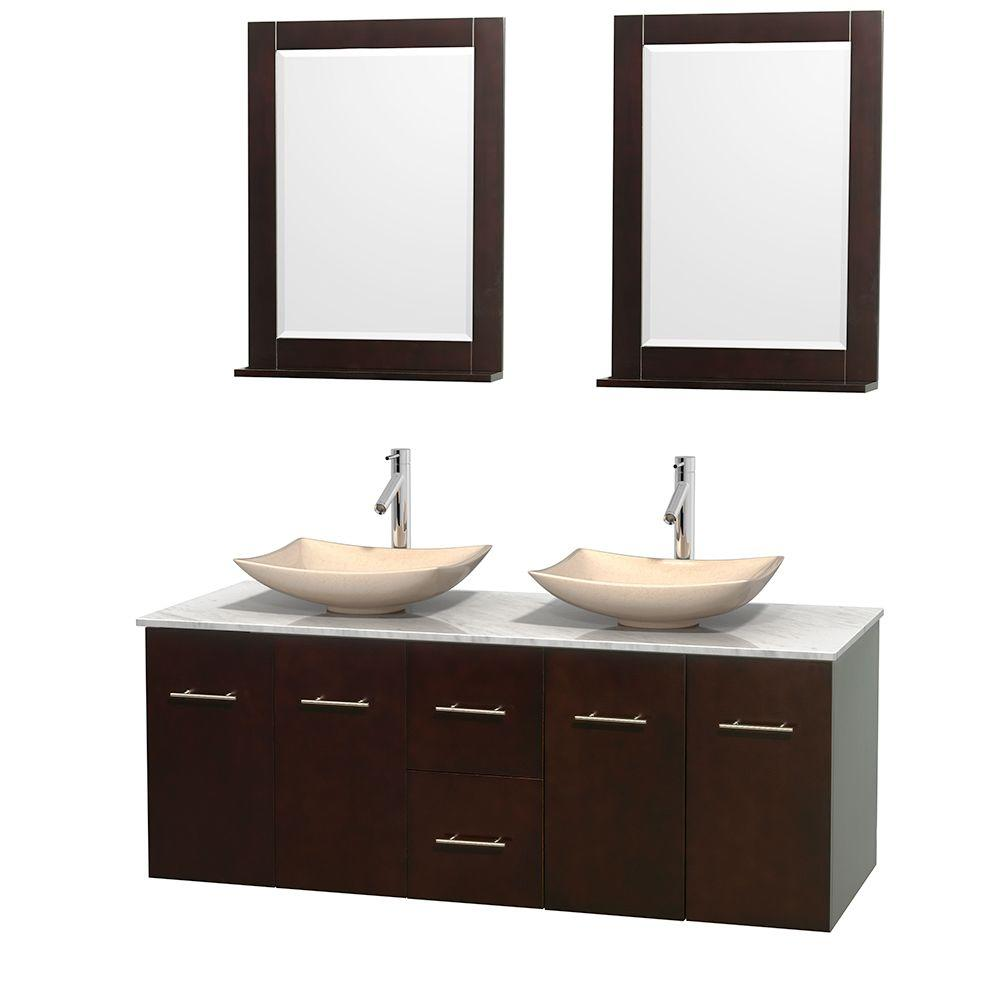 Wyndham Collection Centra 60 in. Double Vanity in Espresso with Marble Vanity Top in Carrara White, Ivory Marble Sinks and 24 in. Mirror