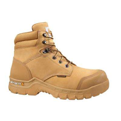 Rugged Flex Men's 09.5W Wheat Leather Waterproof Soft Toe 6-inch lace-up Work Boot CMF6056