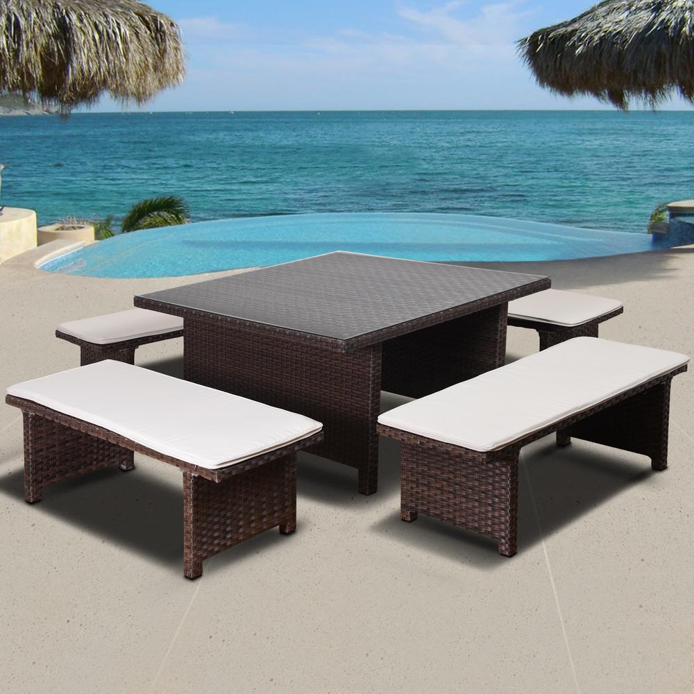 Atlantic Bellagio 5-Piece Aluminium Outdoor Dining Set with Off-White Cushions