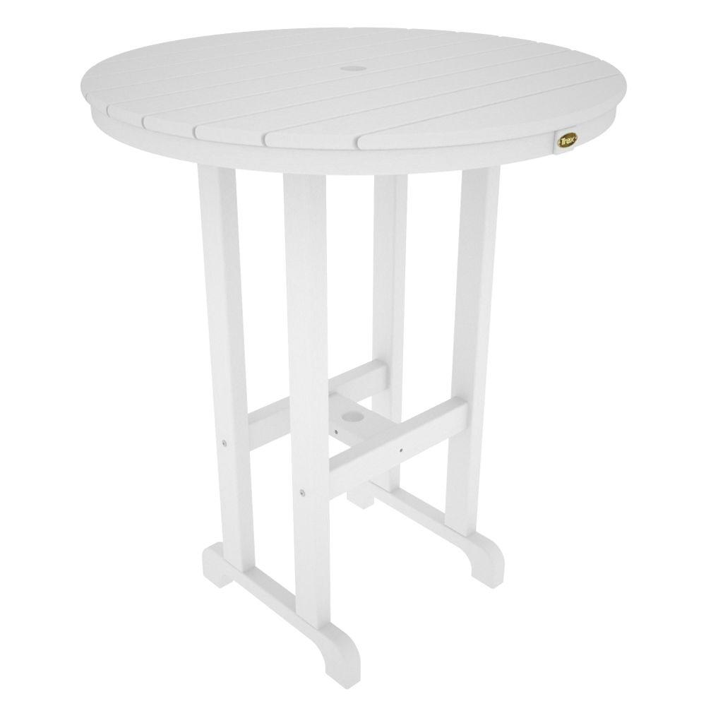 Trex Outdoor Furniture Monterey Bay Classic White 36 In Round Plastic Patio Bar Table