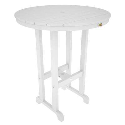 Monterey Bay Classic White 36 in. Round Plastic Outdoor Patio Bar Table