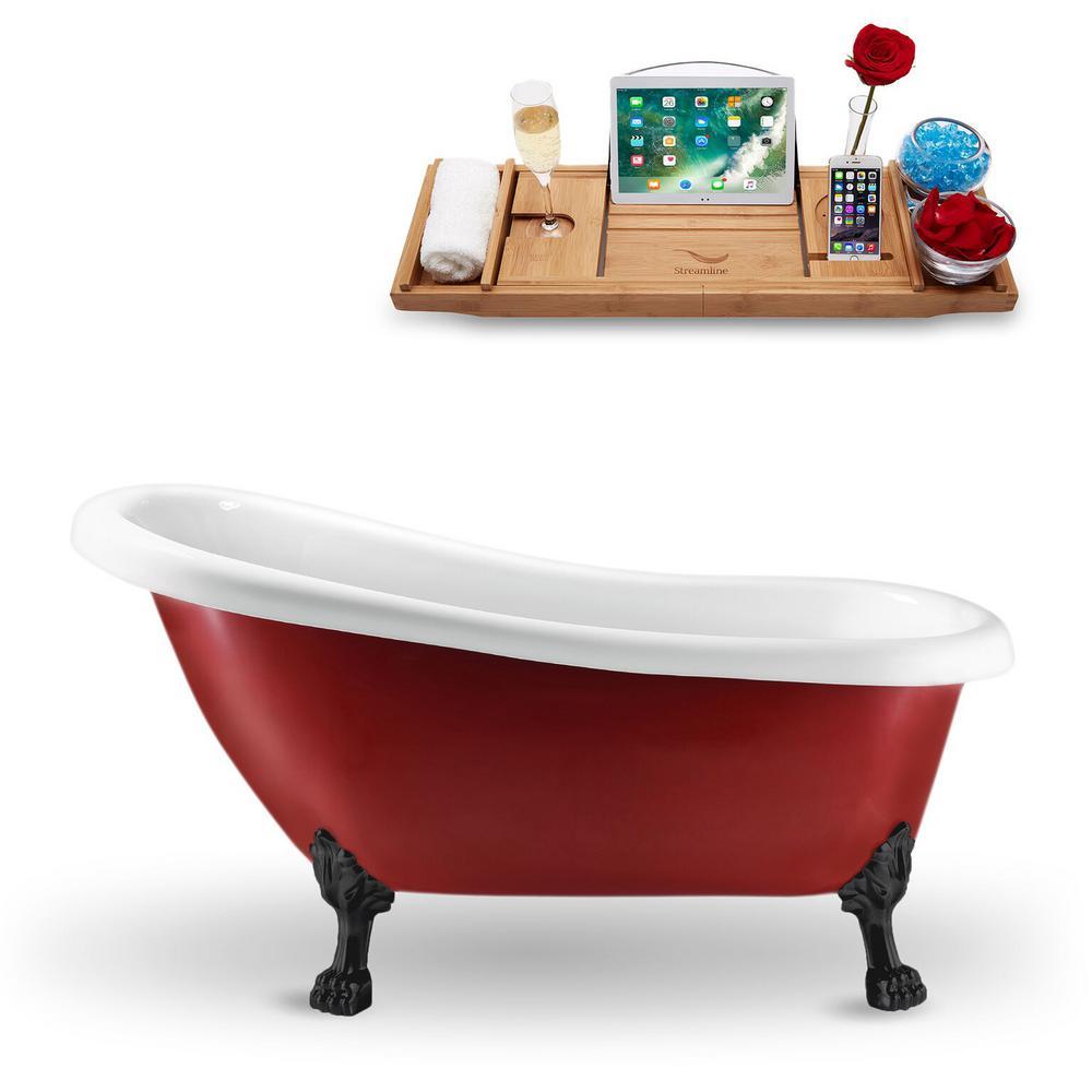 61 in. Acrylic Fiberglass Clawfoot Non-Whirlpool Bathtub in Red