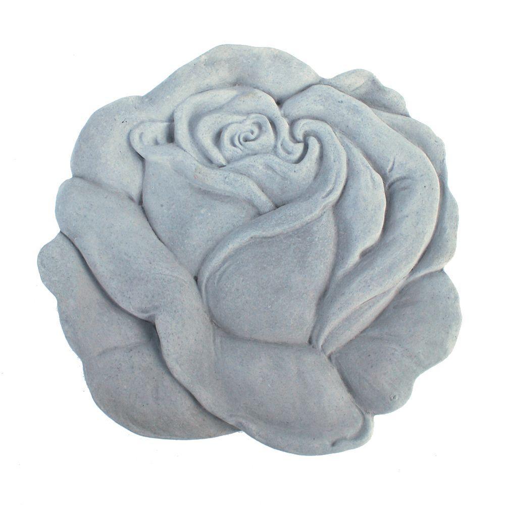 Cast Stone Rose Stepstone Antique Gray