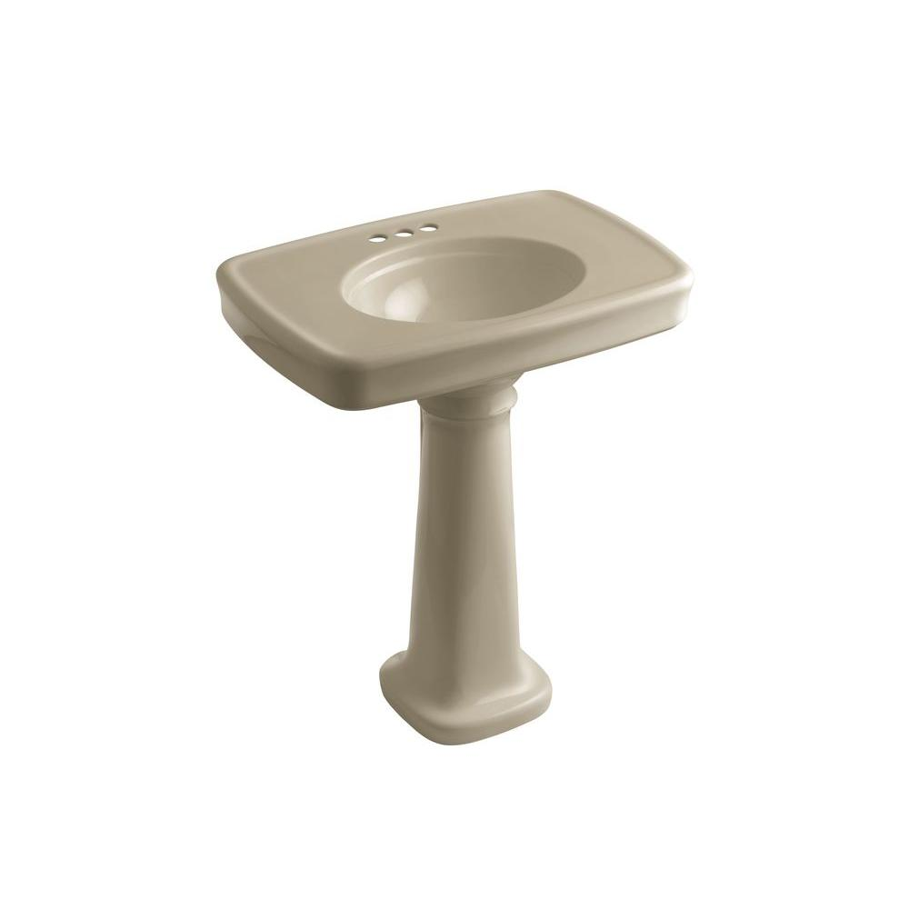 KOHLER Bancroft Vitreous China Pedestal Combo Bathroom Sink in Mexican Sand with Overflow Drain