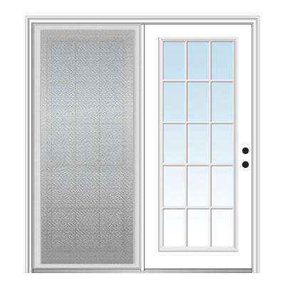 72 in. x 80 in. Primed Fiberglass Prehung Left Hand Inswing Clear Glass 15-Lite Hinged Patio Door with Sliding Screen