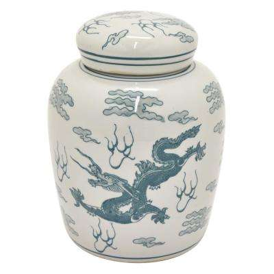 10 in. Green Ceramic Jar
