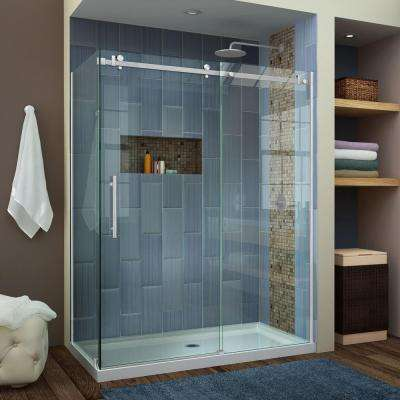 Enigma Air 60-3/8 in. x 76 in. Semi-Frameless Sliding Shower Door in Brushed Stainless Steel with Handle