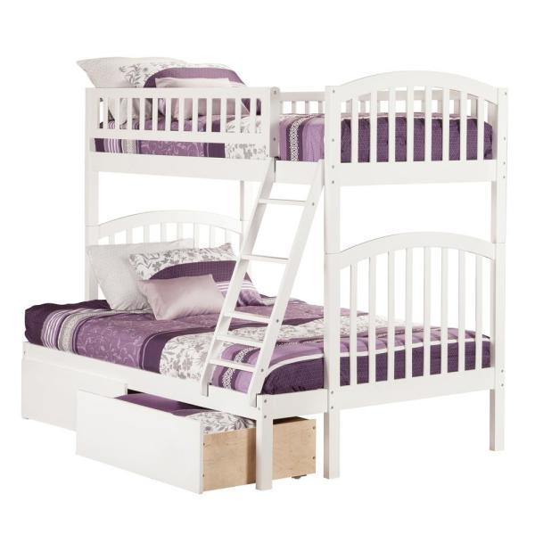Atlantic Furniture Richland White Twin Over Full Bunk Bed with 2
