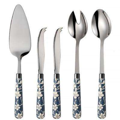 Fuji-Yama 5-Piece Blue 18/0 Stainless Steel Cheese Knife, Salad and Cake Server Set