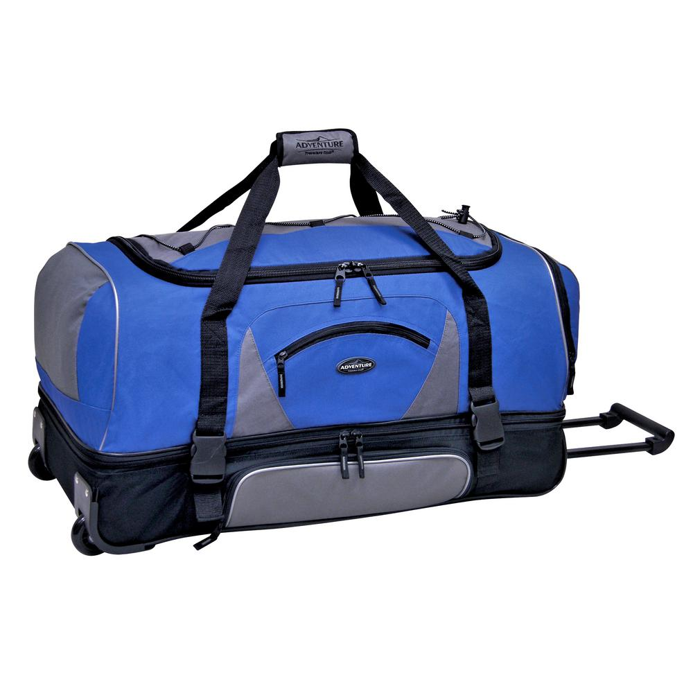 30 in. Blue/Gray 2-Section Drop-Bottom Rolling Duffel with Telescopic Handle and