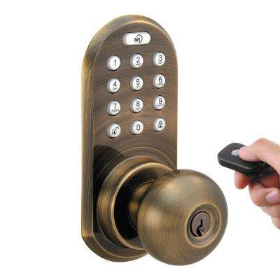 Antique Brass Touch Pad and Remote Electronic Entry Door Knob