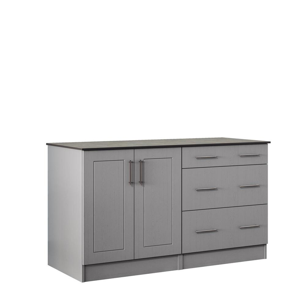 Weatherstrong Palm Beach 59 5 In Outdoor Cabinets With Countertop 2 Full Height Doors And 3
