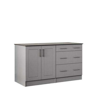Palm Beach 59.5 in. Outdoor Cabinets with Countertop 2 Full Height Doors and 3-Drawer in Gray