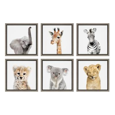 """Sylvie """"Safari Animals"""" by Amy Peterson Framed Canvas Wall Art, Set of 6"""