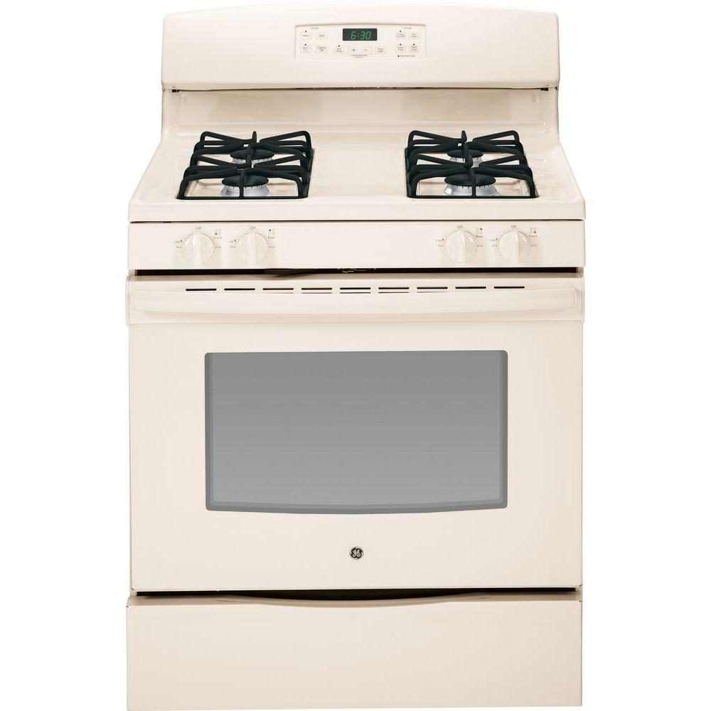 GE 5.0 cu. ft. Gas Range with Self-Cleaning Oven in Bisque
