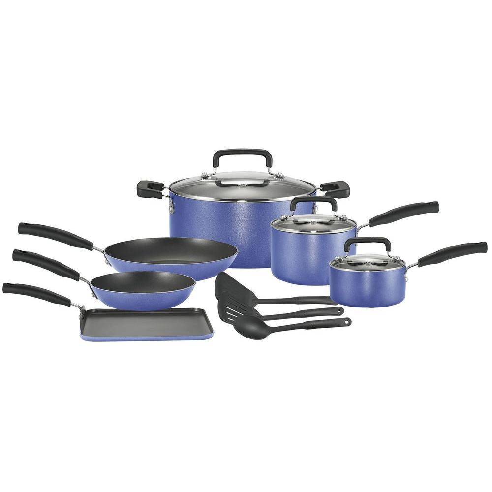 T-Fal Signature Total Non-Stick 12 Piece Cookware Set in Blue