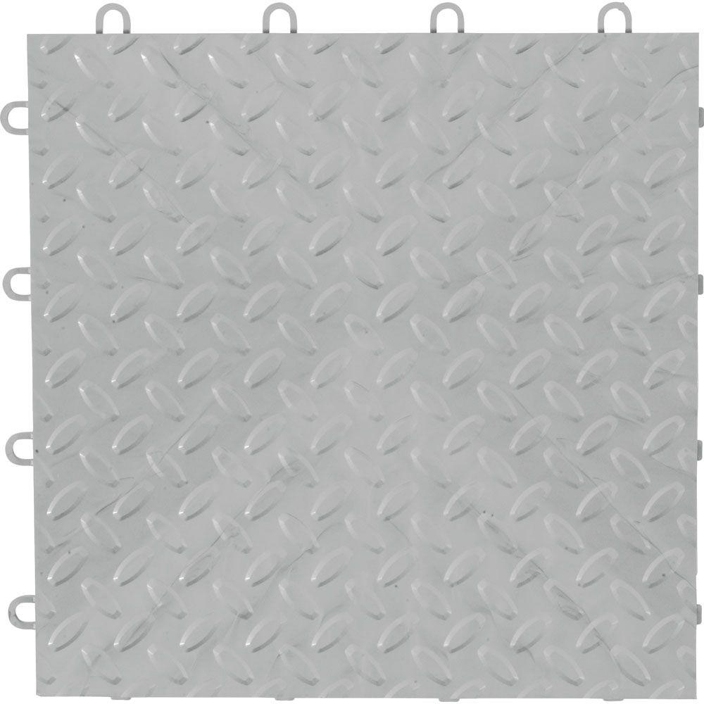 GLADIATOR 12 in. x 12 in. Silver Polypropylene Garage Flo...