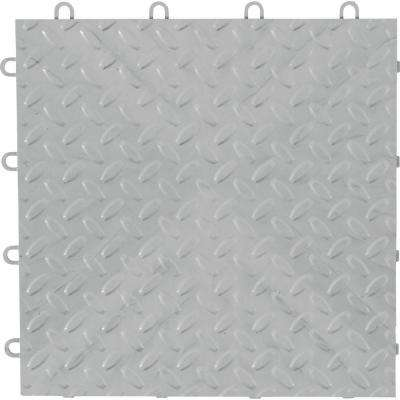 12 in. x 12 in. Silver Polypropylene Garage Flooring Tile (48-Pack)