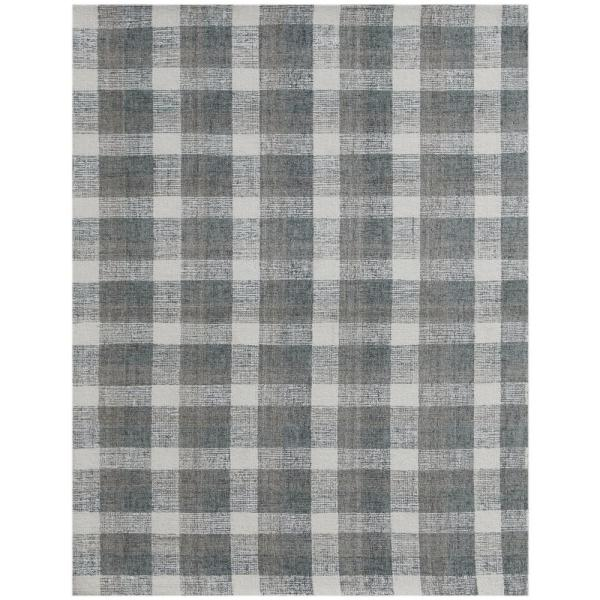 Tartan Gray 8 Ft X 10 Ft Transitional Plaid New Zealand Wool Area Rug Tra80810 The Home Depot