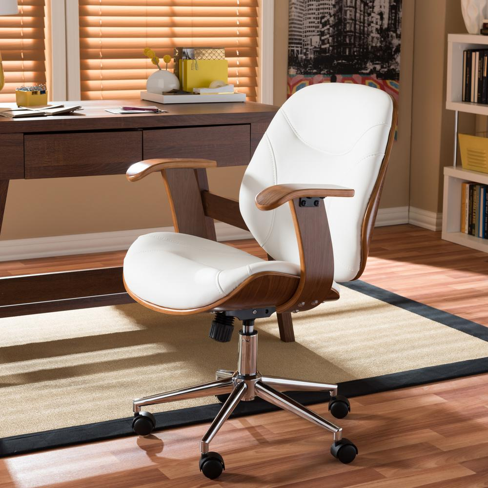 Baxton Studio Rathburn White Faux Leather Upholstered Office Chair & Baxton Studio Rathburn White Faux Leather Upholstered Office Chair ...