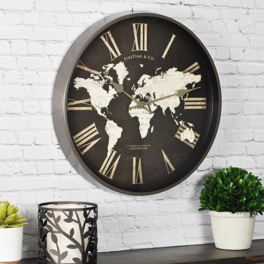 Firstime 125 in h cayenne wall clock 27711 the home depot h world map wall clock amipublicfo Choice Image