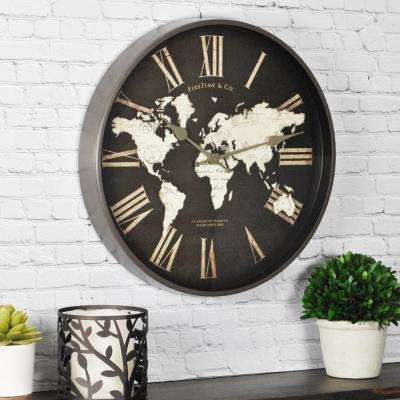 14 in. H World Map Wall Clock
