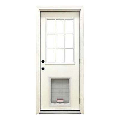 32 in. x 80 in. Classic Clear 9 Lite LHOS White Primed Fiberglass Prehung Front Door with SL Pet Door