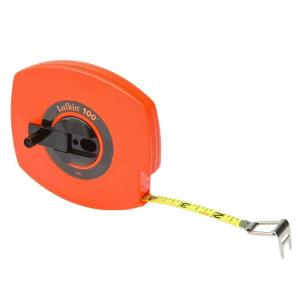 Click here to buy Lufkin 3/8 inch x 100 ft. Hi-Viz Orange Universal Lightweight Long Steel Tape Measure by Lufkin.