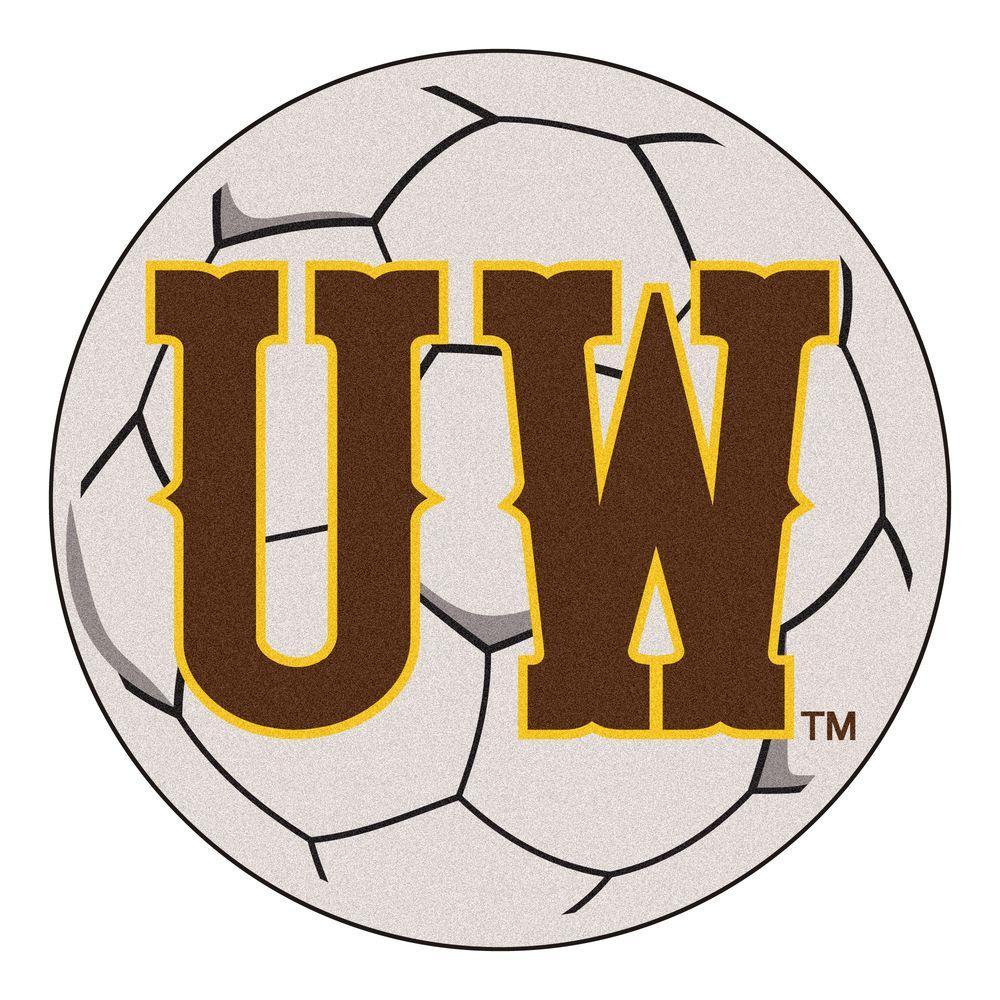 NCAA University of Wyoming UW Logo Cream 2 ft. x 2 ft. Round Area Rug
