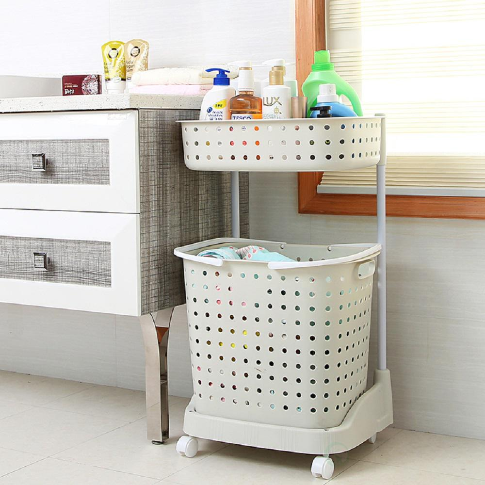 Completely new Basicwise 2 Tier Plastic Laundry Basket with Wheels-QI003311 - The  EL13