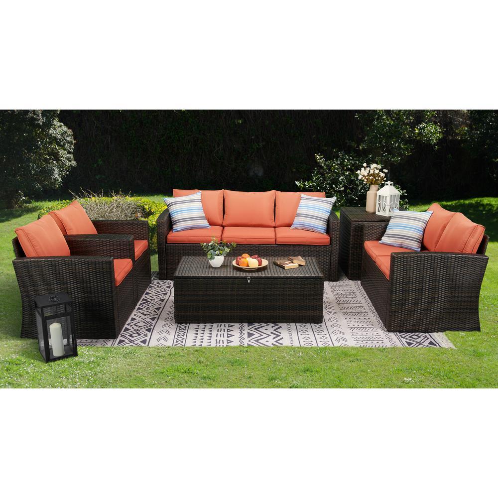 6-Piece Wicker Outdoor Patio Conversation Furniture Set in Orange