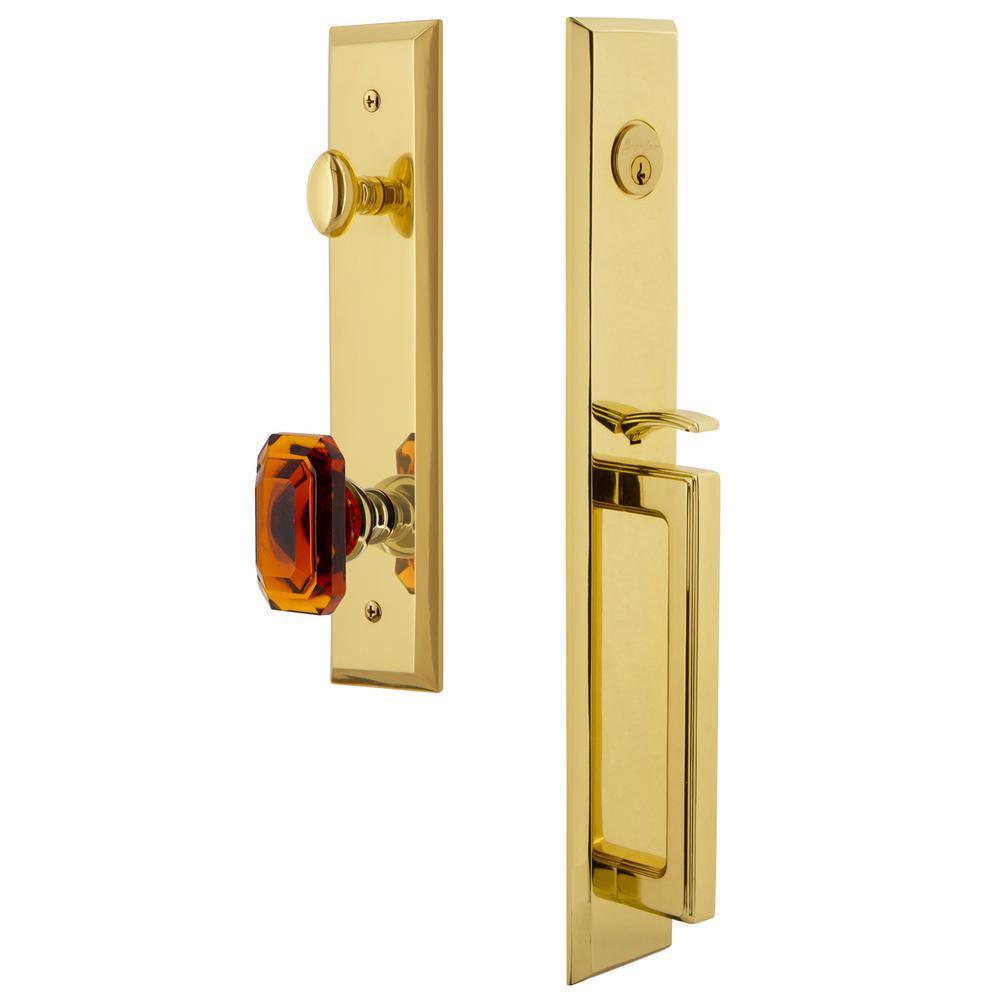 Fifth Avenue 2-3/4 in. Backset Lifetime Brass 1-Piece Door Handleset with D-Grip and Baguette Amber Knob