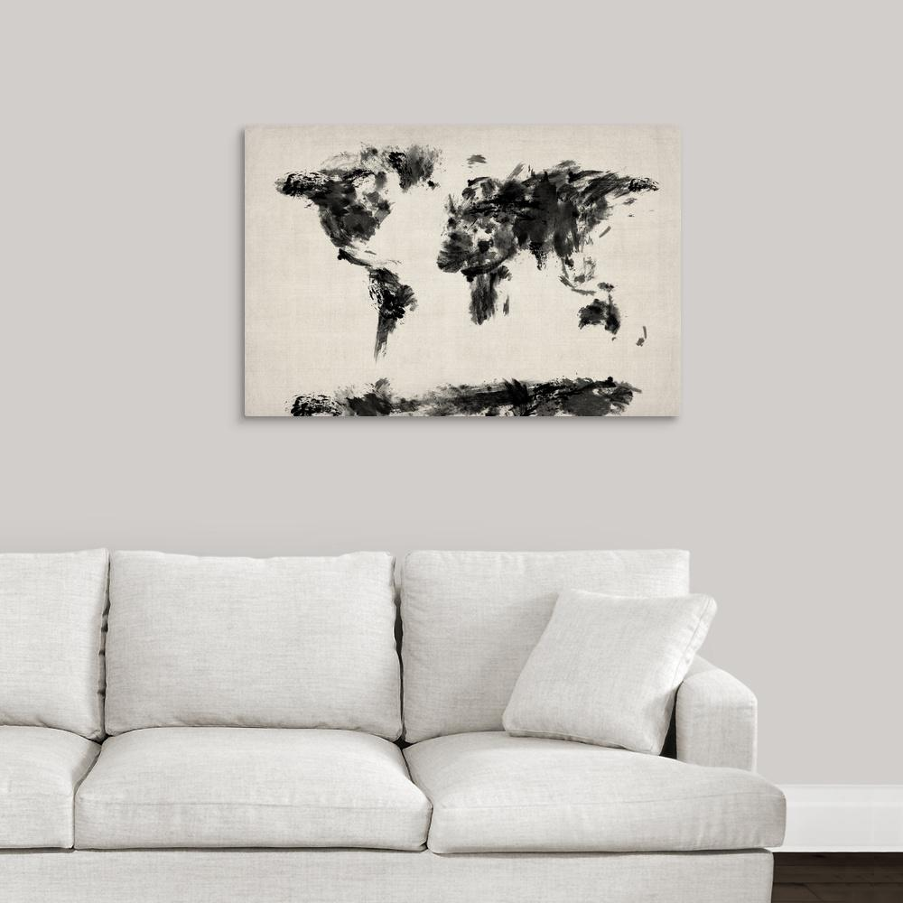 Greatcanvas Abstract Black And White World Map By Michael Tompsett Canvas