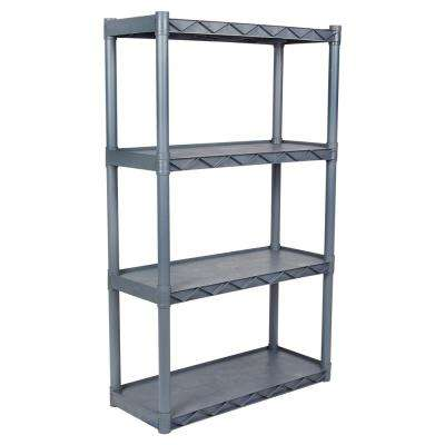 4-Shelf 14 in. W x 34 in. D Gray Shelving Unit