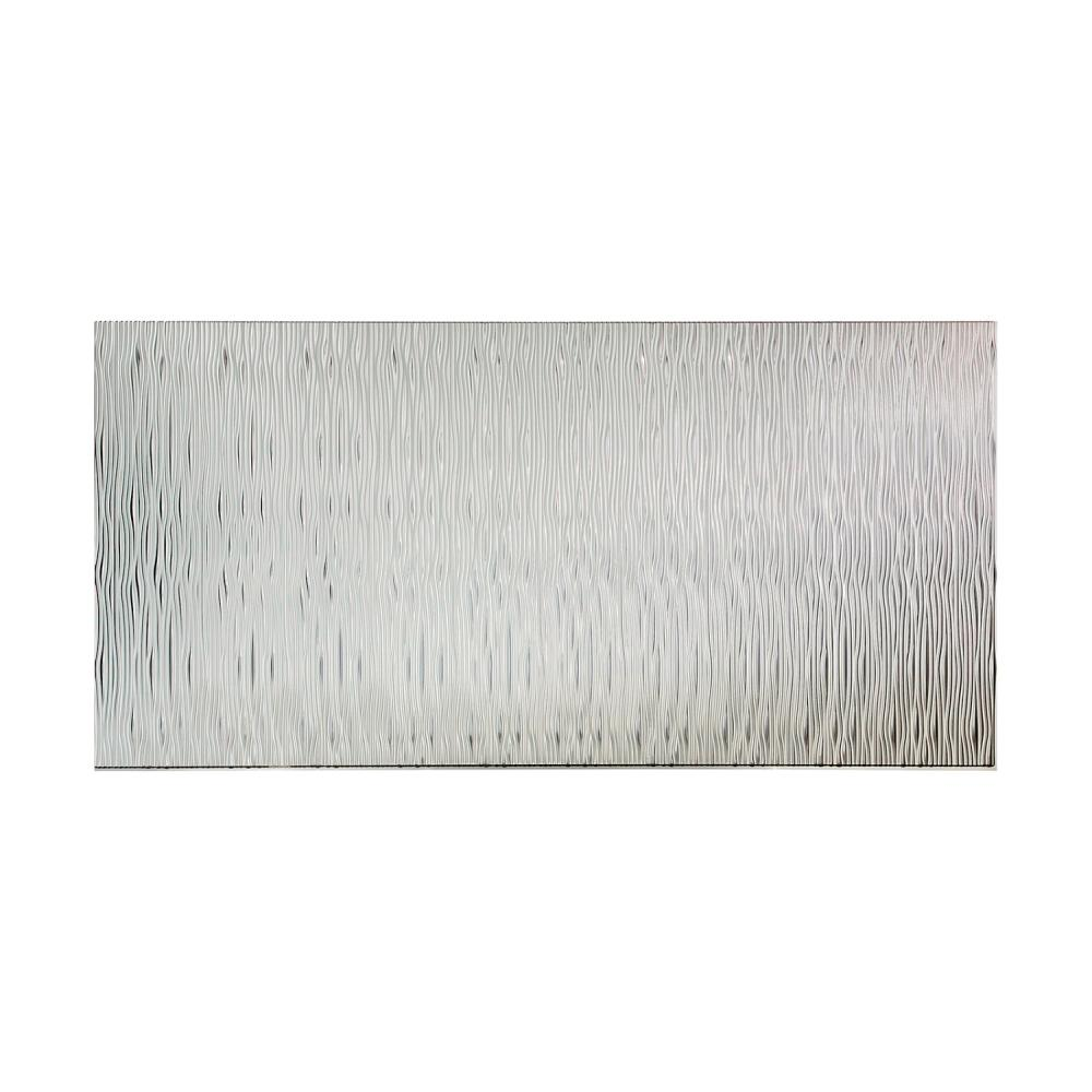 Fasade Waves Vertical 96 in. x 48 in. Decorative Wall Panel in Brushed Aluminum