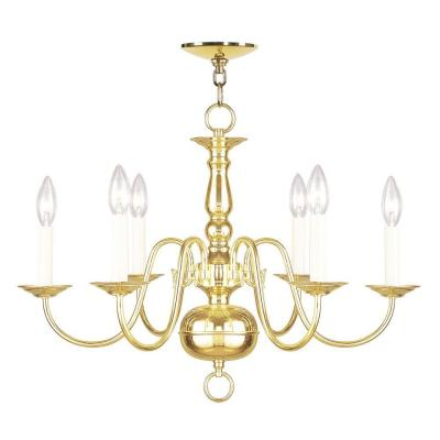 6-Light Polished Brass Chandelier